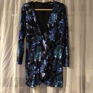 Blue floral print sequin mini dress